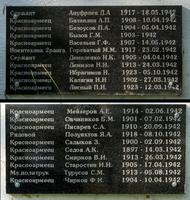 Таблички со списком  умерших от ран в госпитале № 2786