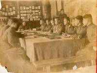 Фото. Сержант Холин П.М. во время политической учебы. 1944-1945