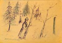 Рисунок. Остроумов А.С. Пограничник. Пестрецы. 1930-е. Бумага, чернила