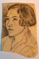 Остроумов А.С. Портрет Остроумовой К.Н., жены художника. Пестрецы. 1928. Бумага, карандаш