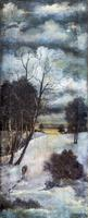 Картина. Остроумов А.С. Зимний пейзаж. Волки. Пестрецы. 1928. Масло, клеенка