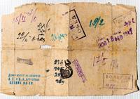Оборотная сторона удостоверения об эвакуации И.А.Арбузовой с печатями и отметками