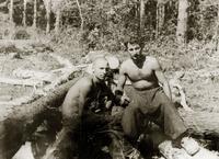 Фото. Студенты КАИ на лесозаготовках. 1944