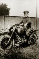 Фото. Юнусов Ф.С.  на трофейном мотоцикле BMW.1944