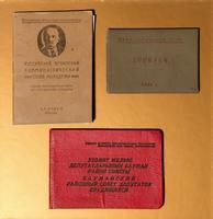 Комсомольский билет, пропуск и удостоверение депутата Новоселовой Л.М.
