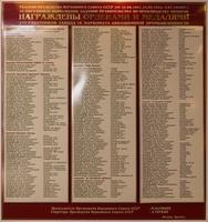 Стенд в музее со списками работников завода № 16, награжденных орденами и медалями в годы Великой Отечественной войны
