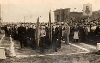 Фото. Рабочие на митинге, посвященном  вручению Красного Знамени ГКО. 1943