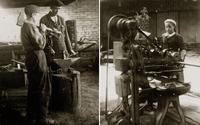 Фото. В кузнице. Девочка у станка. 1940-е