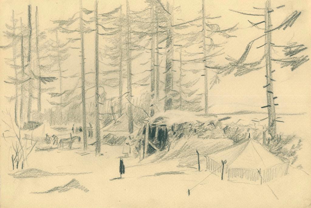 Фото №44991. Альменов Б.М. Лагерь в лесу. 1944 г. Бумага, карандаш.