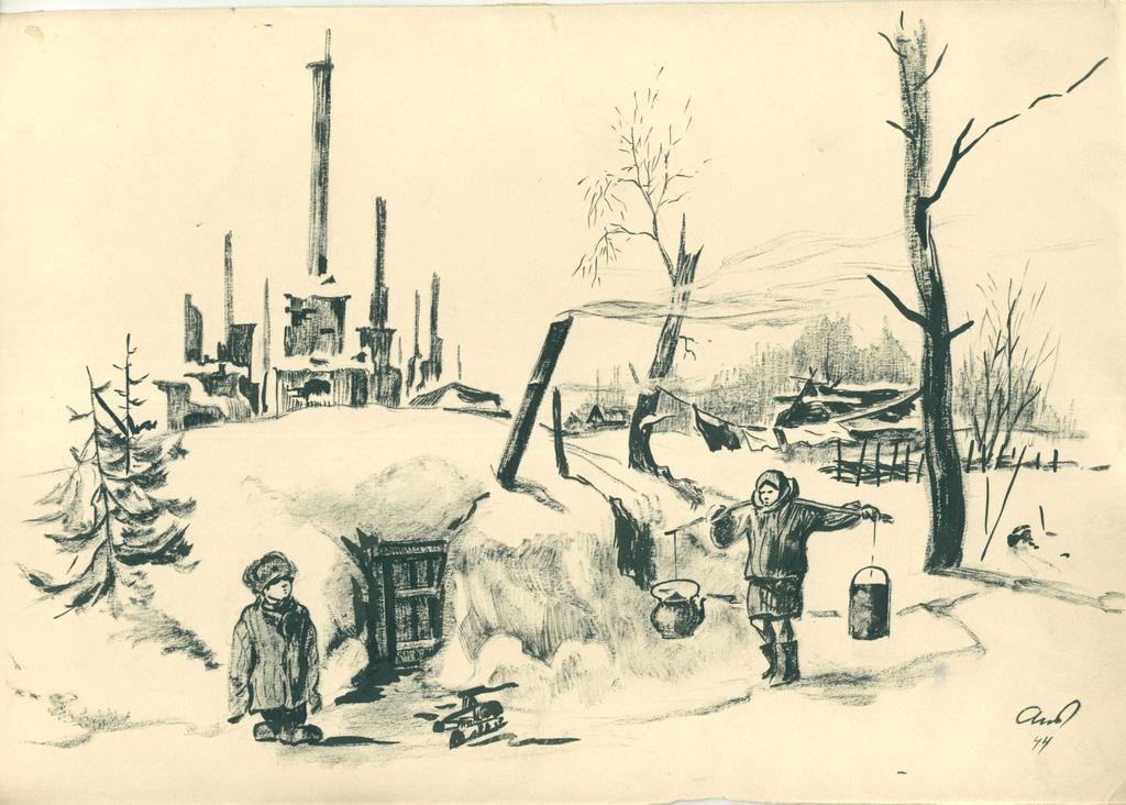 Фото №44995. Альменов Б.М. На развалинах. 1944 г. Бумага, карандаш.