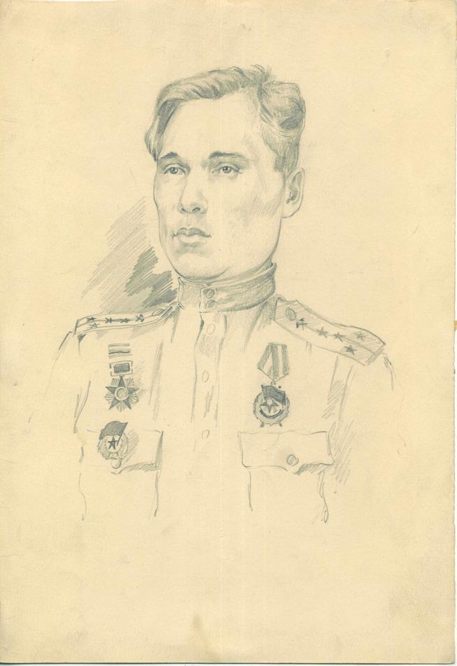 Фото №44999. Альменов Б.М. Портрет гвардии капитана Вдовина Евгения Ильича. 1944 г. Бумага, карандаш.