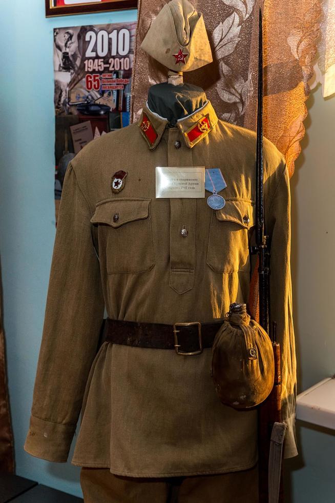 Фото №18259. Форма и снаряжение бойца Красной Армии образца 1941 года. Ткань, кожа, металл