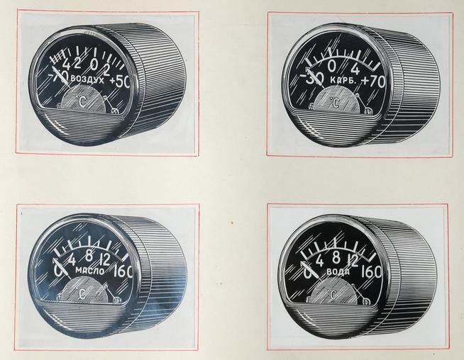 Фото №38186. Продукция завода 1941-1945.Термометры масла ТМЭ-6, карбюратора ТКЭ-6, воздуха ТВЭ-6, цилиндра ТЦТ-9.