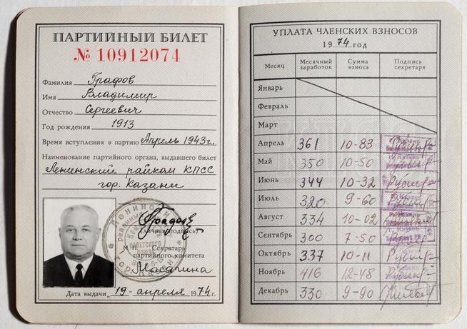 Партийный билет партии парнас