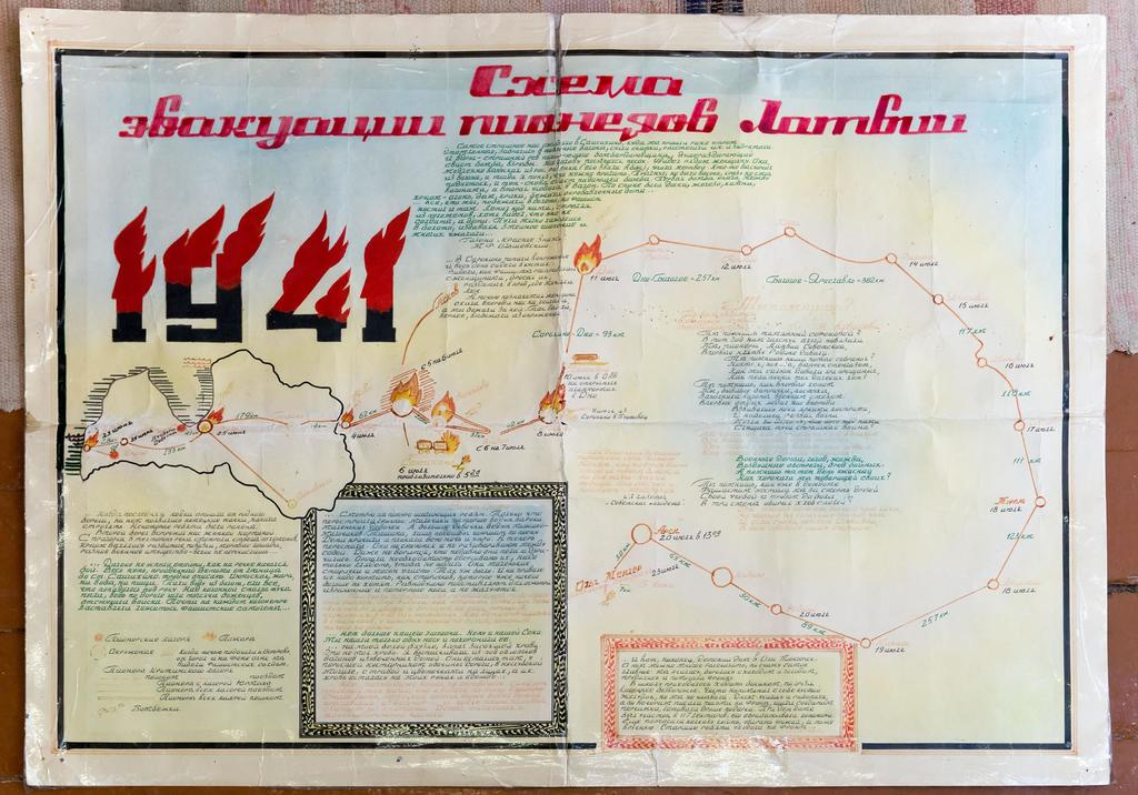 Фото №5081. Карта-схема. Путь эвакуации учащихся из Латвии в 1942 году. 1982