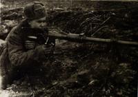 Фото. На позиции. Герой Советского Союза С.А.Ахтямов. Восточная Пруссия. 1944