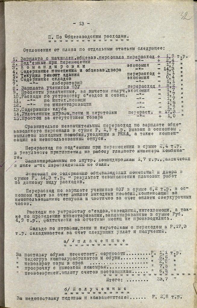 Фото №93144. Отчет о работе Кожобувного комбината «Спартак» за июль 1941года